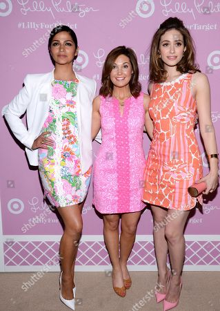 Stock Image of Model Camila Alves, left, Dustee Tucker Jenkins, Target's VP of Public Relations and Social Media and actress Emmy Rossum attend the Lilly Pulitzer for Target launch event at the Bryant Park Grill, in New York