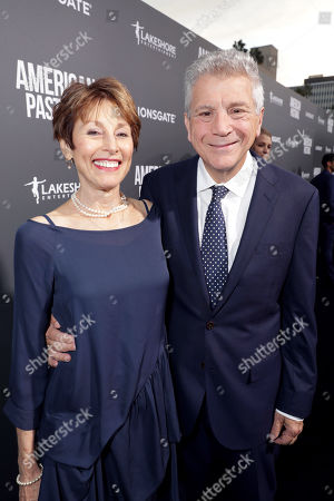 """Nancy Forbes and Writer John Romano seen at Lionsgate Los Angeles Special Screening of """"American Pastoral"""" at Samuel Goldwyn Theater, in Beverly Hills, CA"""