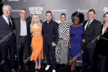 "Producer Andre Lamal, Producer Tom Rosenberg, Dakota Fanning, Director/Actor Ewan McGregor, Jennifer Connelly, Uzo Aduba, Producer Gary Lucchesi and Valorie Curry seen at Lionsgate Los Angeles Special Screening of ""American Pastoral"" at Samuel Goldwyn Theater, in Beverly Hills, CA"