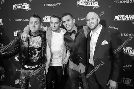 "Stock Photo of Writer/Director/Producer/Actor Roman Atwood, Writer/Actor Vitaly Zdorovetskiy, Steve-O and Writer/Producer/Actor Dennis Roady seen at Lionsgate Los Angeles Premiere of ""Natural Born Pranksters"" at Regal L.A. LIVE, in Los Angeles"