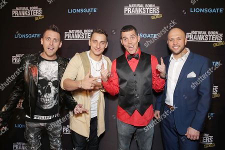 "Writer/Director/Producer/Actor Roman Atwood, Writer/Actor Vitaly Zdorovetskiy, Steve-O and Writer/Producer/Actor Dennis Roady seen at Lionsgate Los Angeles Premiere of ""Natural Born Pranksters"" at Regal L.A. LIVE, in Los Angeles"