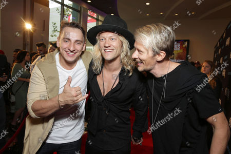 "Writer/Actor Vitaly Zdorovetskiy, Jukka Hilden and Jarno Laasala seen at Lionsgate Los Angeles Premiere of ""Natural Born Pranksters"" at Regal L.A. LIVE, in Los Angeles"
