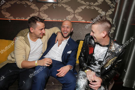 "Writer/Actor Vitaly Zdorovetskiy, Writer/Producer/Actor Dennis Roady and Writer/Director/Producer/Actor Roman Atwood seen at Lionsgate Los Angeles Premiere of ""Natural Born Pranksters"" after party at Regal L.A. LIVE, in Los Angeles"