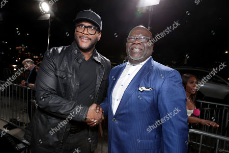 """Stock Photo of Director/Writer/Producer/Actor Tyler Perry and Pastor T. D. Jakes seen at Lionsgate Presents the World Premiere of Tyler Perry's """"Boo! A Madea Halloween"""" at ArcLight Cinerama Dome, in Los Angeles"""
