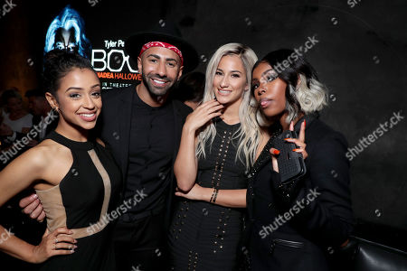 """Liza Koshy, Yousef Erakat, Lexy Panterra and Diamond White seen at Lionsgate Presents the World Premiere of Tyler Perry's """"Boo! A Madea Halloween"""" after party at Lure Nightclub, in Los Angeles"""