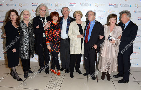 Finola Dwyer, Dame Gwyneth Jones, Billy Connolly, Claire Stewart, Tom Courtenay, Dame Maggie Smith, Ronald Harwood, Pauline Collins, Dustin Hoffman poses at London Film Festival American Airlines Gala -Quartet at Odeon West End on in London