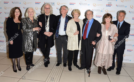Finola Dwyer, Dame Gwyneth Jones, Billy Connolly, Tom Courtenay, Dame Maggie Smith, Ronald Harwood, Pauline Collins, Dustin Hoffman poses at London Film Festival American Airlines Gala -Quartet at Odeon West End on in London