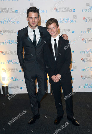 Jeremy Irvine and Toby Irvine poses at London Film Festival Awards 2012 Closing Night Gala - Great Expectations After Party at Battersea Power Station on in London