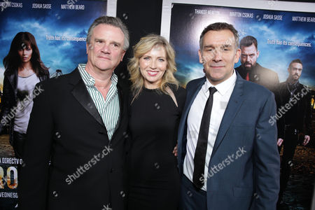 Producer Nick Hamm, Vice President and General Manager of Audience Network Patty Ishimoto and Producer Matthew Parkhill at the Los Angeles Premiere of DirecTV original series ROGUE, on Tuesday, March, 26, 2013 in Los Angeles held at Arclight Hollywood