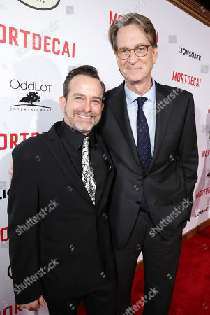 """Composer Geoff Zanelli and Director Director David Koepp seen at the Los Angeles Premiere of Lionsgate's """"Mortdecai"""" on Wed, in Hollywood"""