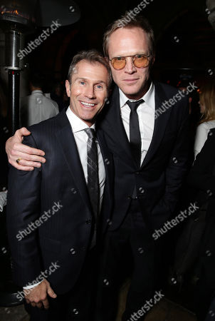 """Producer Andrew Lazar and Paul Bettany seen at the Los Angeles Premiere of Lionsgate's """"Mortdecai"""" on Wed, in Hollywood"""