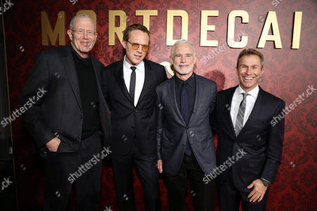 """Michael Paseornek, Lionsgate President of Development and Production, Paul Bettany, Producer Patrick McCormick and Producer Andrew Lazar seen at the Los Angeles Premiere of Lionsgate's """"Mortdecai"""" on Wed, in Hollywood"""