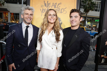 Director/Co-Writer Max Joseph, Co-Writer Meaghan Oppenheimer and Zac Efron seen at Los Angeles Premiere of Warner Bros. â?˜We Are Your Friends' at TCL Chinese Theatre, in Hollywood, CA