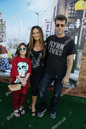 "Bianca Wakelin, Tia Carrere and Simon Wakelin seen at Los Angeles Special Screening of Lionsgate's ""Shaun the Sheep Movie"" at Regency Village Theatre on Saturday, August 01, [2015, in Westwood, CA"