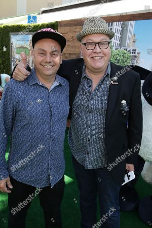 """Stock Image of Writer/Director Mark Burton and Writer/Director Richard Stark seen at Los Angeles Special Screening of Lionsgate's """"Shaun the Sheep Movie"""" at Regency Village Theatre on Saturday, August 01, [2015, in Westwood, CA"""