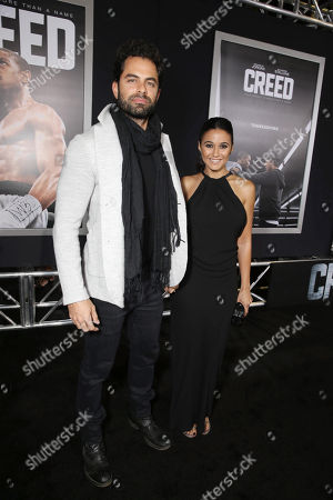 Adrian Bellani and Emmanuelle Chriqui seen at Los Angeles World Premiere of New Line Cinema's and Metro-Goldwyn-Mayer Pictures' 'Creed' at Regency Village Theater, in Westwood, CA
