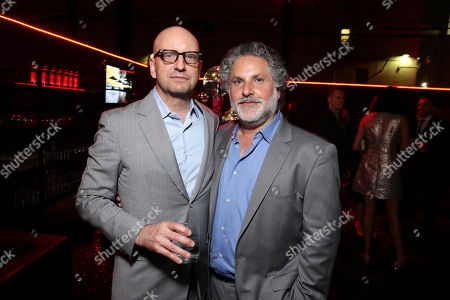 """Steven Soderbergh and Producer Nick Wechsler seen at the Los Angeles World Premiere of Warner Bros. Pictures' """"Magic Mike XXL"""", in Los Angeles"""