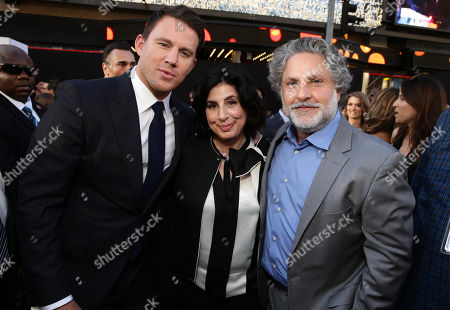 """Channing Tatum, Sue Kroll, President of Worldwide Marketing and International Distribution at Warner Bros. Pictures and producer Nick Wechsler seen at the Los Angeles World Premiere of Warner Bros. Pictures' """"Magic Mike XXL"""", in Los Angeles"""