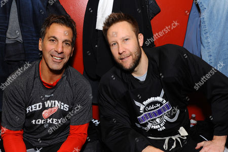 Chris Chelios, left, and Michael Rosenbaum attend Luc Robitaille's Celebrity Shoot Out benefitting Echoes of Hope, on in Park City, Utah