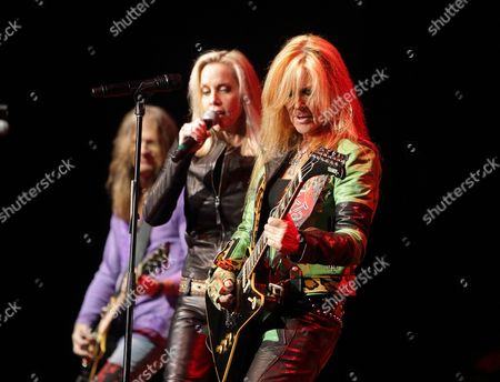 Cherie Currie and Lita Ford perform in concert during the M3 Rock Fest at Merriweather Post Pavilion, in Columbia, Md