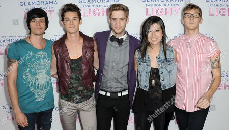 Stock Photo of From left, John Gomez, Stephen Gomez, Brian Dales, Jess Bowen, and Josh Montgomery arrive at the Macy's Passport's Glamorama at The Orpheum Theatre on in Los Angeles