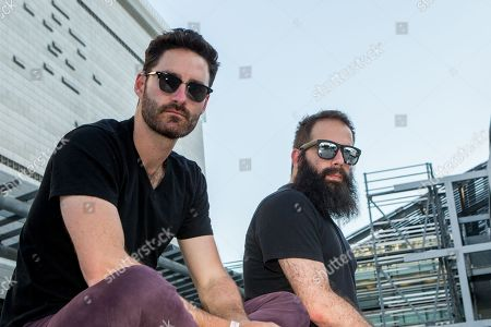 Ryan Merchant, left, and Sebu Simonian of Capital Cities pose for a portrait backstage during the Made In America Festival at Grand Park, in Los Angeles, Calif