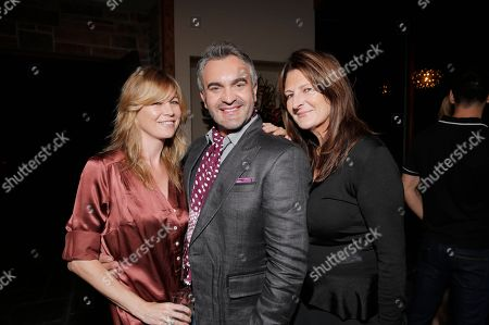 """From left, Ellen Pompeo, Martyn Lawrence Bullard and Kathryn Ireland attend the """"Magic City"""" season 2 premiere after party, in Los Angeles"""