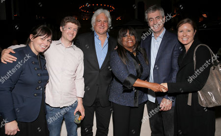 """Stock Photo of Magnolia's Arianne Rocchi and Peter Van Steemburg with Executive Producer Mark Mitten, Chaz Ebert, Steve James and Magnolia's Christina Rodgers attend Magnolia Pictures' Los Angeles Premiere of """"Life Itself"""" at the Warwick on in Hollywood, California"""