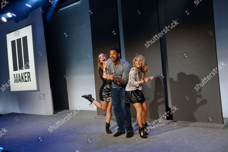 """From left, Taryn Southern, Iman """"AlphaCat"""" Crosson and Kate """"Mr. Kate"""" Albrecht attend Maker Studios NewFront 2015 at Skylight Clarkson Square on Tue., in New York City"""