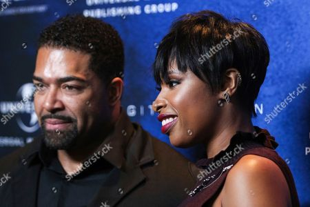 """Honoree actress Jennifer Hudson, right, and David Otunga arrive at the March of Dimes """"Celebration of Babies: A Hollywood Luncheon"""" at the Beverly Wilshire Hotel, in Beverly Hills, Calif"""