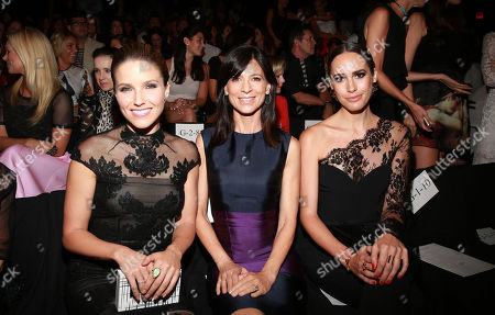 Sophia Bush, from left, Perry Reeves and Louise Roe pose at MBFW Spring/Summer 2015 Monique Lhuillier fashion show at Lincoln Center on in New York