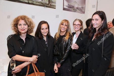 From left, Sonia Eram, Hanneke Skerath, Rosette Delug, Allegra Pesenti, the John R. Eckel Jr. Foundation Chief Curator of the Menil Drawing Institute and Bettina Korek pose during a party to unveil the design by the Los Angeles-based architecture firm Johnston Marklee for the Menil Drawing Institute held at the Johnston Marklee Design Studio on in Los Angeles, Calif