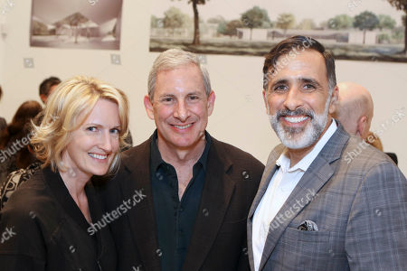 From left, Julie Roberts, Anthony Nicholas and Adam Gross pose during a party to unveil the design by the Los Angeles-based architecture firm Johnston Marklee for the Menil Drawing Institute held at the Johnston Marklee Design Studio on in Los Angeles, Calif