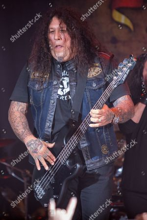 Chuck Billy, of Testament, performs on stage during the Metal Allegiance concert at the House of Blues, in Anaheim, Calif