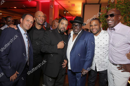 "Exclusive - Producer Robert Teitel, Common, Producer/Actor Ice Cube, Cedric the Entertainer, Anthony Anderson and J. B. Smoove seen at Metro Goldwyn Mayer and New Line Cinema Premiere of ""Barbershop: The Next Cut"" at TCL Chinese Theatre, in Hollywood"
