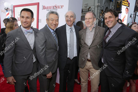 """Adam Rosenberg, EVP of Production for Metro-Goldwyn-Mayer Studios, Kevin Tsujihara, Chairman and Chief Executive Officer, Warner Bros., Gary Barber, Chairman and Chief Executive Officer of Metro-Goldwyn-Mayer Inc., Toby Emmerich, President and COO, New Line Cinema, and Jonathan Glickman, President of the Motion Picture Group for Metro-Goldwyn-Mayer Studios, seen at Metro Goldwyn Mayer and New Line Cinema Premiere of """"Barbershop: The Next Cut"""" at TCL Chinese Theatre, in Hollywood"""