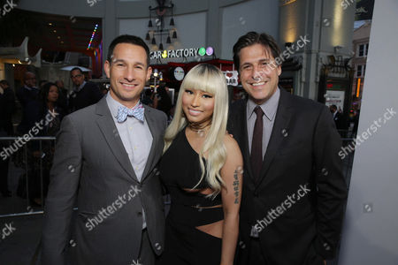 """Adam Rosenberg, EVP of Production for Metro-Goldwyn-Mayer Studios, Nicki Minaj and Jonathan Glickman, President of the Motion Picture Group for Metro-Goldwyn-Mayer Studios, seen at Metro Goldwyn Mayer and New Line Cinema Premiere of """"Barbershop: The Next Cut"""" at TCL Chinese Theatre, in Hollywood"""