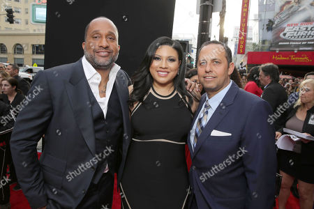 "Writer/Producer Kenya Barris, Writer Tracy Oliver and Producer Robert Teitel seen at Metro Goldwyn Mayer and New Line Cinema Premiere of ""Barbershop: The Next Cut"" at TCL Chinese Theatre, in Hollywood"