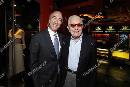 PREMIUM RATES APPLY MGM's Chairman and CEO, Gary Barber and Walter Mirisch kick off MGM's 90th Anniversary with the company's iconic mascot Leo the Lion's Paw Print ceremony at the TCL Chinese Theater in Hollywood on