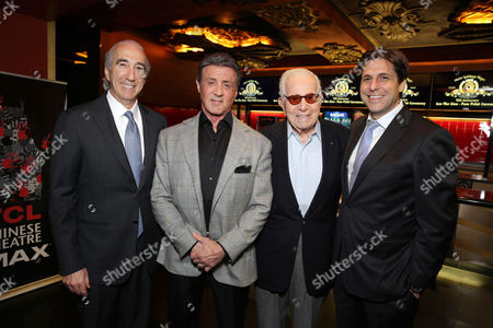 PREMIUM RATES APPLY MGM's Chairman and CEO, Gary Barber, Sylvester Stallone, Walter Mirisch and President, Motion Picture Group for MGM Jonathan Glickman kick off MGM's 90th Anniversary with the company's iconic mascot Leo the Lion's Paw Print ceremony at the TCL Chinese Theater in Hollywood on