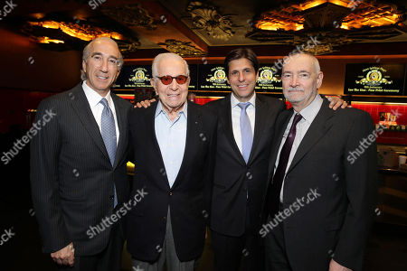 Stock Picture of PREMIUM RATES APPLY MGM's Chairman and CEO, Gary Barber, Walter Mirisch, President, Motion Picture Group for MGM Jonathan Glickman and Michael Wilson kick off MGM's 90th Anniversary with the company's iconic mascot Leo the Lion's Paw Print ceremony at the TCL Chinese Theater in Hollywood on