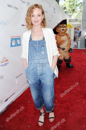 Stock Photo of Jayma Mays arrives at Milk + Bookies Story Time Celebration held at the Skirball Cultural Center, in Los Angeles