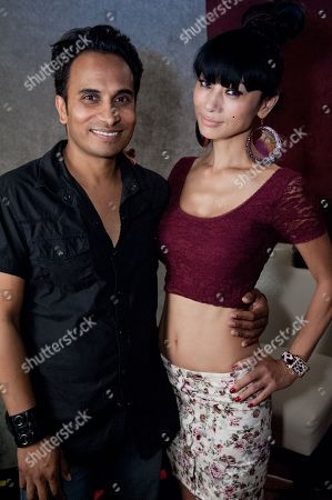 "Reggie Benjamin, left, and Bai Ling attend Reggie Benjamin's ""Mission Save Her"" recording session, in Los Angeles"