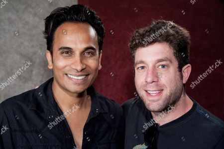"Reggie Benjamin, left, and Elliott Yamin attend Reggie Benjamin's ""Mission Save Her"" recording session, in Los Angeles"