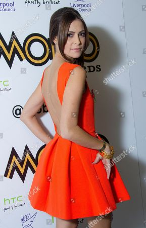 Actress Anouska Mond arrives in the press room for the 2012 MOBO Awards at the Echo Arena in Liverpool