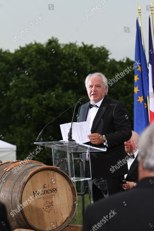 Chairman and CEO, Moet Hennessy Christophe Navarre is seen speaking at the Moet Hennessy Celebration of the Hermione Voyage 2015 at George Washington's Mount Vernon, in Mount Vernon, Va