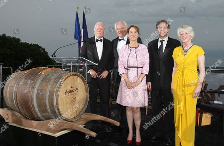 President & CEO of George Washington's Mount Vernon Curt Viebranz left, Chairman and CEO, Moet Hennessy Christophe Navarre, French Minister for Ecology, Sustainable Development and Energy, Chair of the French Hermione Lafayette National Committee 2015 Segolene Royal, U.S. Deputy Secretary of State Antony Blinken and Regent of the Mount Vernon Ladies' Association Barbara B. Lucas are seen at the Moet Hennessy Celebration of the Hermione Voyage 2015 at George Washington's Mount Vernon, in Mount Vernon, Va