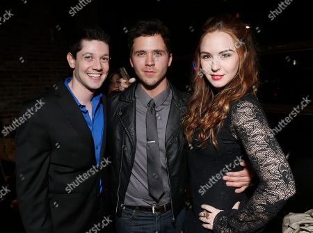 Stock Image of James Rustin, Stephen Lunsford and Camryn Grimes attend a surprise birthday party for MTV Teen Wolf's Stephen Lunsford presented by Monster Energy Drinks on in Los Angeles, CA