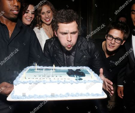 MTV Teen Wolf's Stephen Lunsford with his birthday cake at a surprise birthday party for him presented by Monster Energy Drinks on in Los Angeles, CA