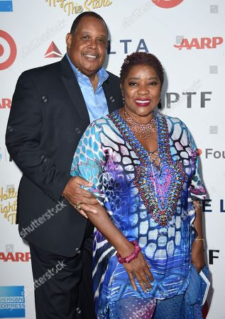 """Glenn Marshall, left, and Loretta Devine arrive at MPTF's 95th Anniversary Celebration """"Hollywood's Night Under The Stars"""" on in Woodland Hills, Calif"""